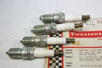 JEU DE 4 BOUGIES FIRESTONE F33TLP...RENAULT R14 R18 CITROEN LNA  PEUGEOT 504 V6