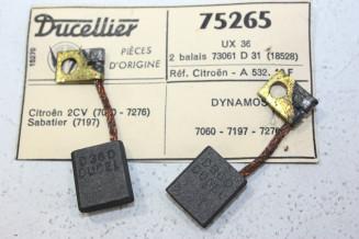 CHARBONS UX 36 POUR DYNAMOS 6/12V DUCELLIER...CITROEN 2CV AMI 6 DYANE 4