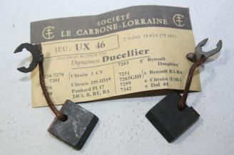 CHARBONS UX 46 POUR DYNAMOS 6/12V DUCELLIER...CITROEN 3CV DS ID19 DAUPHINE R3