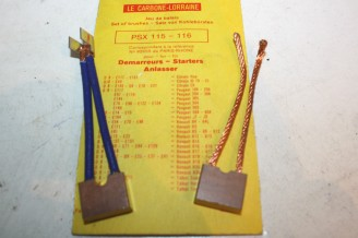 CHARBONS PSX 115-116 POUR DEMARREUR PARIS RHONE...ID DS R4 R5 R6 R12 R16 R17 FUEGO SAMBA HORIZON TAGORA