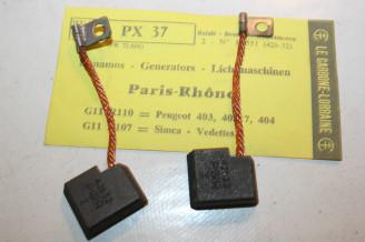 CHARBONS PX 37 POUR DYNAMO 12V PARIS RHONE...PEUGEOT 403 403/7 404 SIMCA VEDETTE