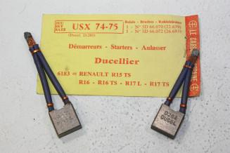 CHARBONS USX 74-75 POUR DEMARREUR 12V DUCELLIER...POUR R15TS R16TS R17L R17TS